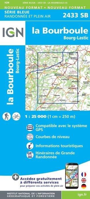 SB-2433SB  La Bourboule, Bourg-Lastic | wandelkaart 1:25.000 9782758537229  IGN Serie Bleue (vernieuwd)  Wandelkaarten Auvergne, Cantal, Forez