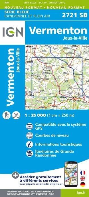SB-2721SB Vermenton, Nitry, Joux-la-Ville 9782758537281  IGN Serie Bleue (vernieuwd)  Wandelkaarten