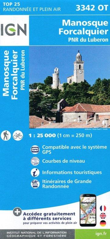 3342OT   Forcalquier, Manosque | wandelkaart 1:25.000 9782758539940  IGN TOP 25  Wandelkaarten tussen Valence, Briançon, Camargue en Nice