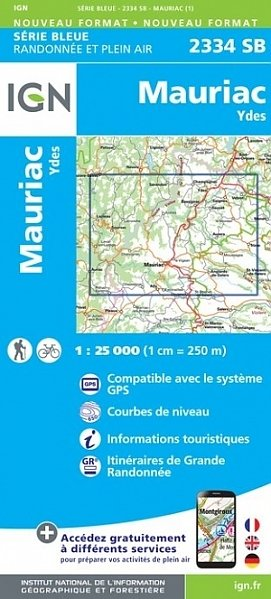 SB-2334SB Mauriac, Ydes | wandelkaart 1:25.000 9782758546245  IGN Serie Bleue (vernieuwd)  Wandelkaarten Auvergne, Cantal, Forez
