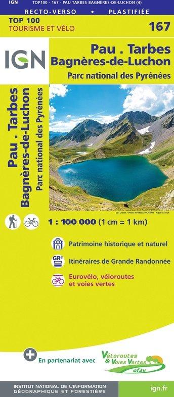SV-167  Pau, Tarbes 9782758547754  IGN Série Verte 1:100.000  Fietskaarten, Landkaarten en wegenkaarten Franse Pyreneeën, Toulouse, Gers, Garonne