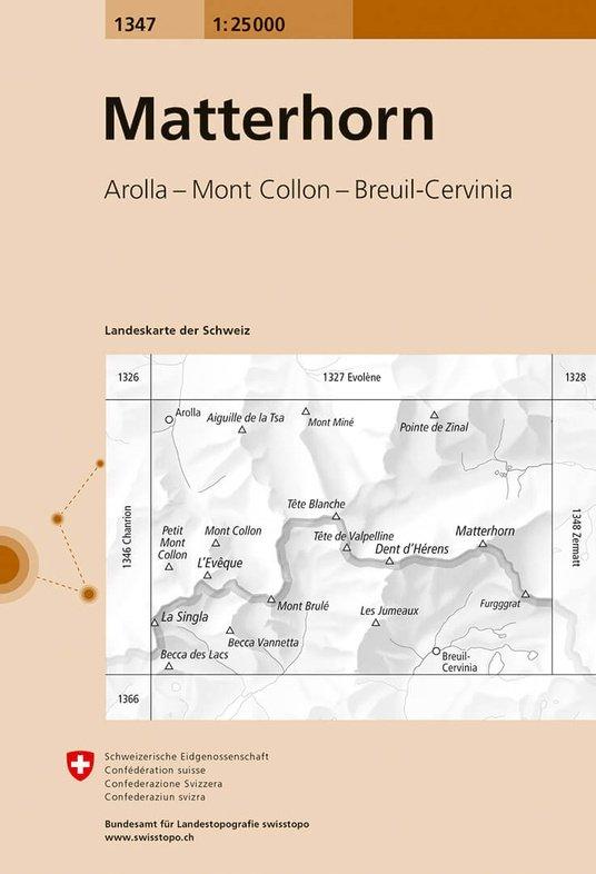 CH-1347  Matterhorn [2018] topografische wandelkaart 9783302013473  Bundesamt / Swisstopo LKS 1:25.000  Wandelkaarten Wallis