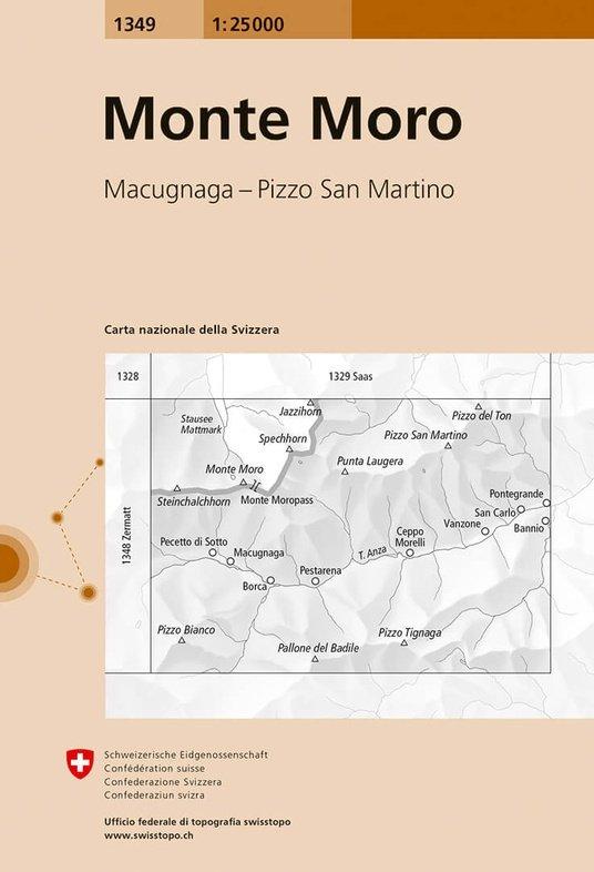 CH-1349  Monte Moro [2017] topografische wandelkaart 9783302013497  Bundesamt / Swisstopo LKS 1:25.000  Wandelkaarten Wallis