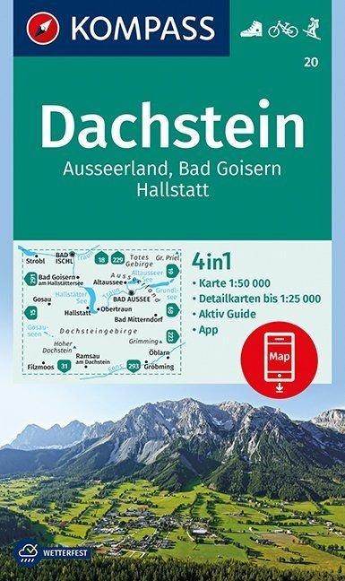 KP-20 Dachstein-Südl. Salzkammergut | Kompass wandelkaart 9783990444153  Kompass Wandelkaarten   Wandelkaarten Salzburg, Karinthë, Tauern, Stiermarken