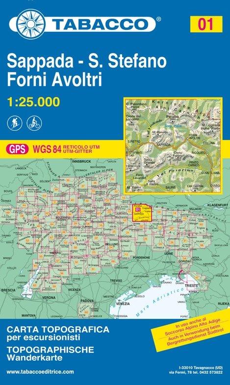 TAB-01  Sappada, Forni Avoltri | Tabacco wandelkaart 9788883150012  Tabacco Tabacco 1:25.000  Wandelkaarten Zuidtirol, Dolomieten, Friuli, Venetië, Emilia-Romagna