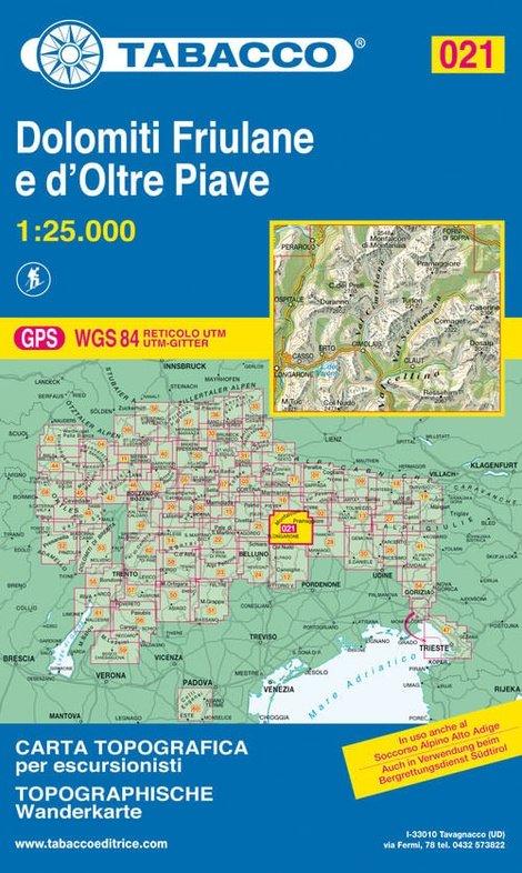 TAB-21  Dolomiti di Sinistra Piave | Tabacco wandelkaart 9788883150210  Tabacco Tabacco 1:25.000  Wandelkaarten Zuidtirol, Dolomieten, Friuli, Venetië, Emilia-Romagna