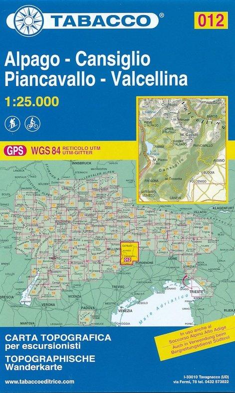 TAB-12  Cansiglio - Alpago - Piancavallo - Barcis   Tabacco wandelkaart 9788883151170  Tabacco Tabacco 1:25.000  Wandelkaarten Zuidtirol, Dolomieten, Friuli, Venetië, Emilia-Romagna