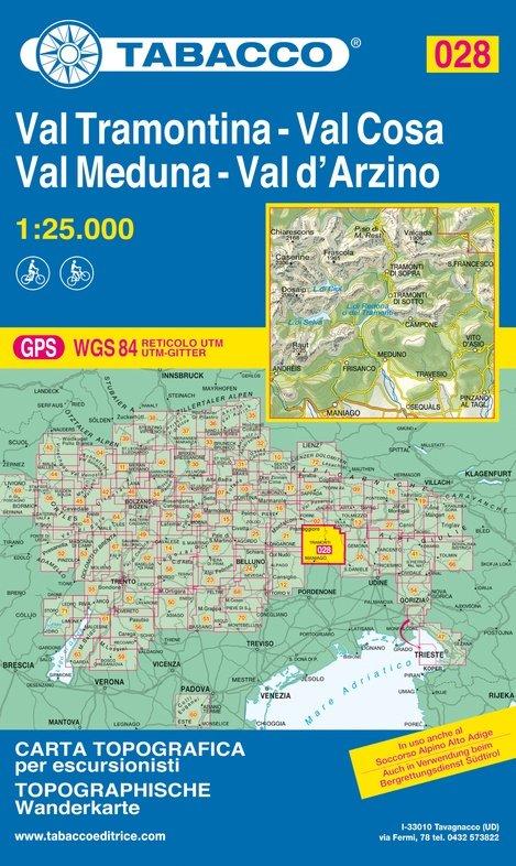 TAB-28  Val Tramontina/ Val Cosa/ Val d Arzino | Tabacco wandelkaart 9788883151200  Tabacco Tabacco 1:25.000  Wandelkaarten Zuidtirol, Dolomieten, Friuli, Venetië, Emilia-Romagna