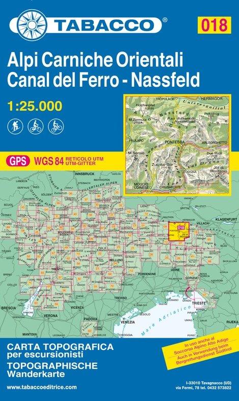 TAB-18  Alpi Carniche Orientali - Canal del Ferro | Tabacco wandelkaart 9788883151231  Tabacco Tabacco 1:25.000  Wandelkaarten Zuidtirol, Dolomieten, Friuli, Venetië, Emilia-Romagna
