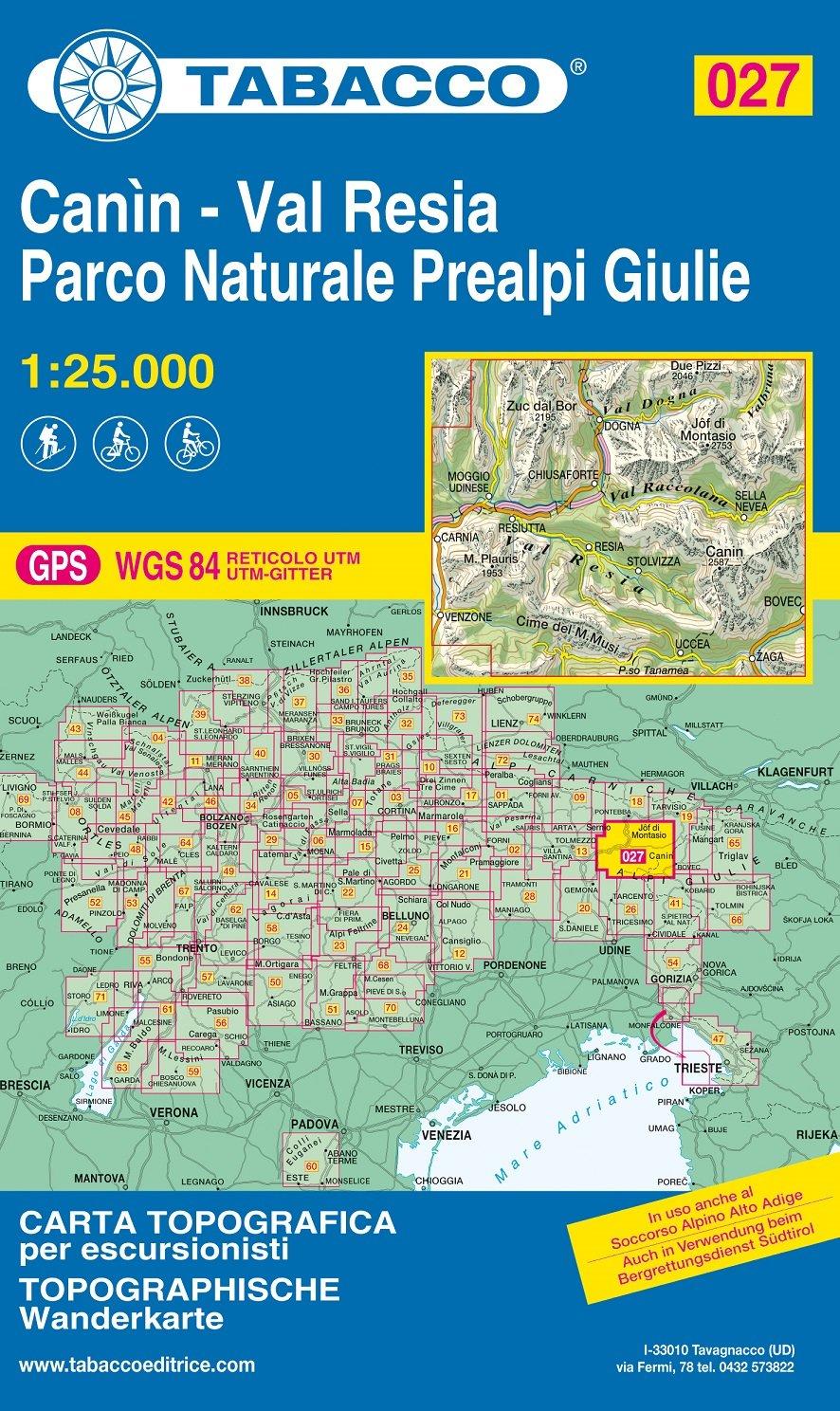 TAB-27  Canin - Valli di Resia e Raccolana | Tabacco wandelkaart 9788883151293  Tabacco Tabacco 1:25.000  Wandelkaarten Zuidtirol, Dolomieten, Friuli, Venetië, Emilia-Romagna