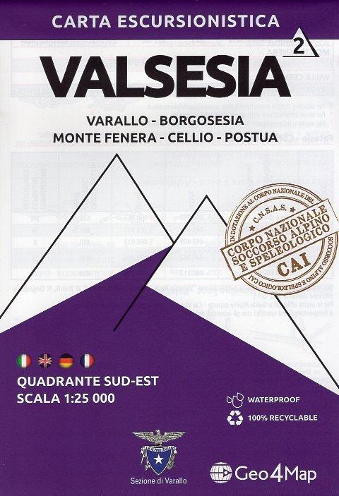 G4M-02 Valsesia (zuid-oost) | wandelkaart 1:25.000 9788899606329  Geo4Map   Wandelkaarten Ligurië, Piemonte, Lombardije
