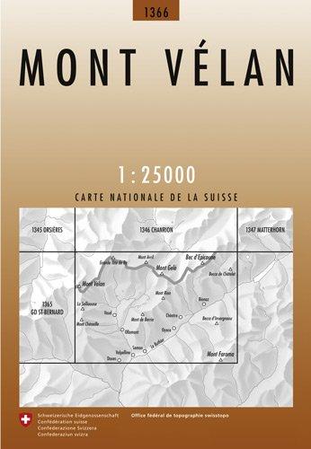 CH-1366  Mont Vélan [2004] topografische wandelkaart CH1366  Bundesamt / Swisstopo LKS 1:25.000  Wandelkaarten Wallis