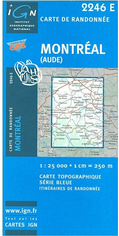 2246 Est  Montréal [Aude] SB2246E  IGN Serie Bleue  Wandelkaarten Franse Pyreneeën, Toulouse, Gers, Garonne