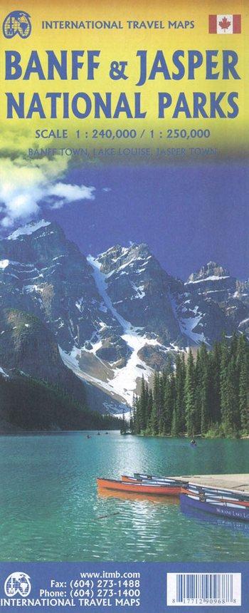 Banff and Jasper National Parks | landkaart, autokaart 1:240.000 / 250.000 9781771290968  ITM   Landkaarten en wegenkaarten West-Canada, Rockies