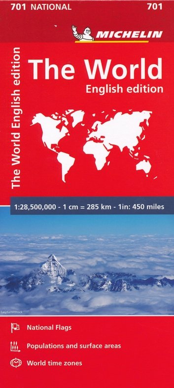701  Wereld 1: 28,5 miljoen 9782067170360  Michelin Gevouwen wereldkaart  Landkaarten en wegenkaarten Wereld als geheel