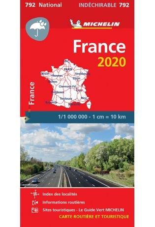 792  Frankrijk 1:1.000.000 2020 onverscheurbaar 9782067242845  Michelin Michelinkaarten Jaaredities  Landkaarten en wegenkaarten Frankrijk