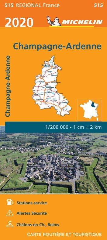 515 Champagne-Ardenne 1:200.000 (2020) 9782067243781  Michelin Regionale kaarten  Landkaarten en wegenkaarten Champagne, Franse Ardennen