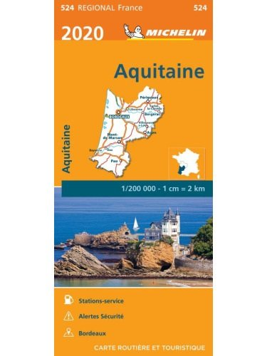 524 Aquitaine    Michelin  wegenkaart, autokaart 1:200.000 9782067243873  Michelin Regionale kaarten  Landkaarten en wegenkaarten Aquitaine, Bordeaux