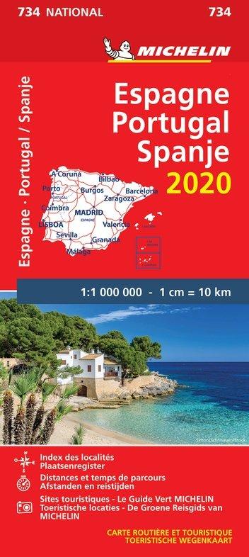 734 Spanje & Portugal, 1:1.000.000; 2020 9782067244061  Michelin Michelinkaarten Jaaredities  Landkaarten en wegenkaarten Spanje