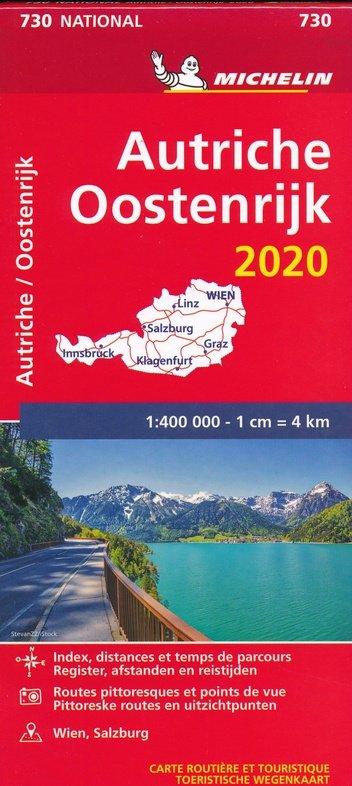 730 Oostenrijk 2020 | Michelin  wegenkaart, autokaart 1:400.000 9782067244306  Michelin Michelinkaarten Jaaredities  Landkaarten en wegenkaarten Oostenrijk