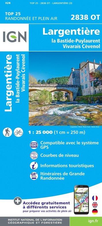 2838OT  Largentière, Ardèche | wandelkaart 1:25.000 9782758543169  IGN TOP 25  Wandelkaarten Ardèche, Cevennen, Lozère, Gard en Aveyron