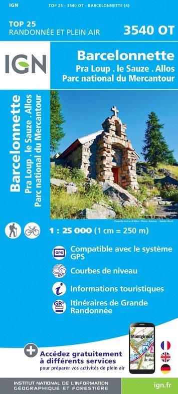 3540OT  omgeving Barcelonnette   wandelkaart 1:25.000 9782758543305  IGN TOP 25  Wandelkaarten Alpes de Haute-Provence, Gorges du Verdon
