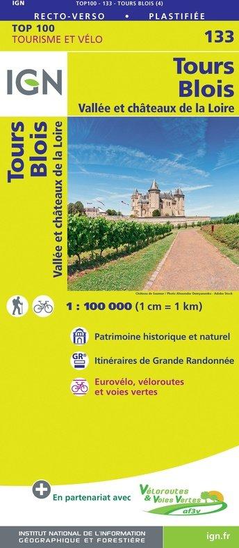 SV-133  Tours, Blois   omgevingskaart / fietskaart 1:100.000 9782758547563  IGN Série Verte 1:100.000  Fietskaarten, Landkaarten en wegenkaarten Poitou, Tours, Orléans, Bourges