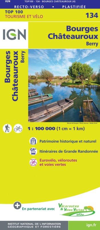 SV-134  Bourges, Châteauroux   omgevingskaart / fietskaart 1:100.000 9782758547570  IGN Série Verte 1:100.000  Fietskaarten, Landkaarten en wegenkaarten Poitou, Tours, Orléans, Bourges