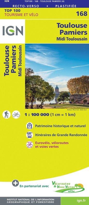 SV-168  Toulouse, Pamiers | omgevingskaart / fietskaart 1:100.000 9782758547761  IGN Série Verte 1:100.000  Landkaarten en wegenkaarten, Fietskaarten Languedoc, Hérault, Aude