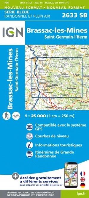 SB-2633SB  Brassac-les-Mines, St-Germain-l'Herm  | wandelkaart 1:25.000 9782758548751  IGN Serie Bleue (vernieuwd)  Wandelkaarten Auvergne, Cantal, Forez