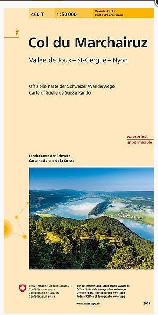 460T Col du Marchairuz / Vallée de Joux-St-Cergue-Nyon 9783302304601  Bundesamt / Swisstopo SAW 1:50.000  Wandelkaarten Berner Oberland, Basel, Jura, Genève