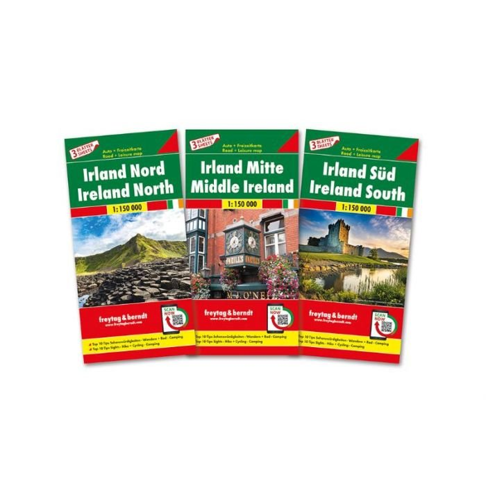 Ierland (set van 3 kaarten) | autokaart, wegenkaart 1:150.000 9783707918007  Freytag & Berndt   Landkaarten en wegenkaarten, Fietskaarten Ierland