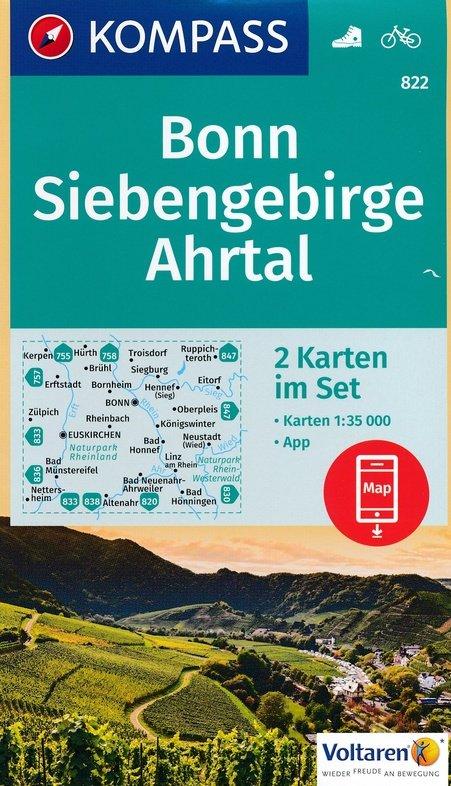 KP-822  Bonn, Siebengebirge, Ahrtal | set van 2 wandelkaarten 9783990442425  Kompass Wandelkaarten   Wandelkaarten Eifel, Moezel, Rheinland-Pfalz