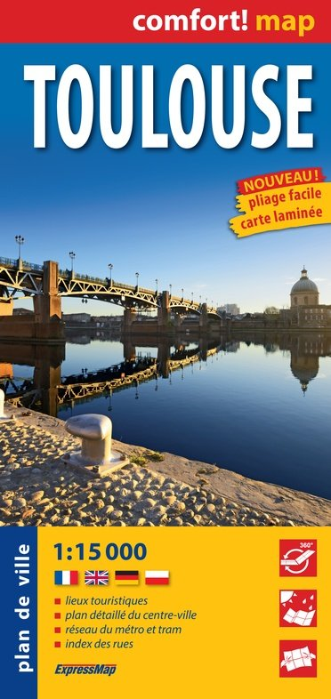 Toulouse, plan de ville 1:12.500 (stadsplattegrond) 9788380463509  Comfort Map   Stadsplattegronden Franse Pyreneeën, Toulouse, Gers, Garonne