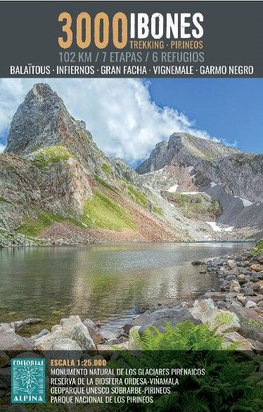 Ibones 3000 | wandelkaart 1:25.000 9788480907910  Editorial Alpina   Wandelkaarten, Meerdaagse wandelroutes Franse Pyreneeën, Toulouse, Gers, Garonne, Spaanse Pyreneeën