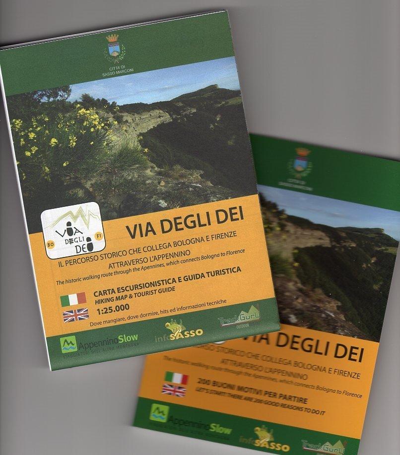 Via Degli Dei | wandelkaart 1:25.000 (met een gidsje) 9788894262308  ApenninoSlow   Wandelkaarten Italië