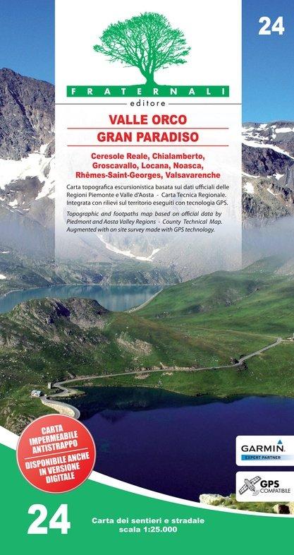 FRA-24 Alta Valle Orco - Gran Paradiso   wandelkaart 1:25.000 9788897465355  Fraternali Editore   Wandelkaarten Aosta, Gran Paradiso, Turijn, Piemonte