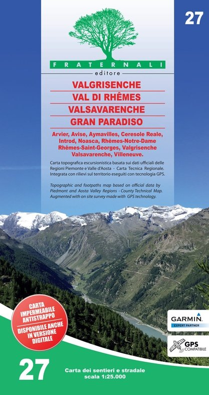 FRA-27  Valgrisenche - Val di Rhêmes - Valsavarenche - Gran Paradiso | wandelkaart 1:25.000 9788897465430  Fraternali Editore   Wandelkaarten Ligurië, Piemonte, Lombardije