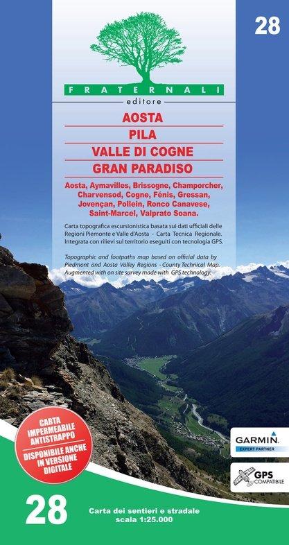 FRA-28 Aosta - Pila - Valle di Cogne - Gran Paradiso | wandelkaart 1:25.000 9788897465447  Fraternali Editore   Wandelkaarten Ligurië, Piemonte, Lombardije