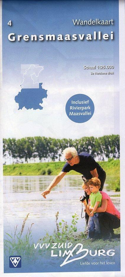 Grensmaasvallei 1:25.000 | wandelkaart 4 31485  VVV Limburg   Wandelkaarten Maastricht en Zuid-Limburg