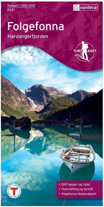 UG-2431  Folgefonna - Hardangerfjorden 1:100.000 7046660024317  Nordeca / Ugland Turkart Norge 1:100.000  Wandelkaarten Zuid-Noorwegen