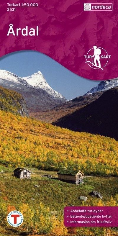 UG-2531  Ardal | topografische wandelkaart 1:50.000 7046660025314  Nordeca / Ugland Turkart Norge 1:50.000  Wandelkaarten Noorwegen boven de Sognefjord
