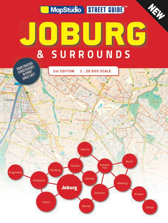 Street Atlas Johannesburg & surrounds (1:20.000) 9781776170302  Map Studio   Stadsplattegronden Zuid-Afrika