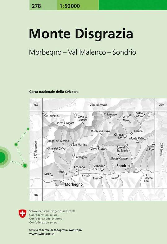CH278  Monte Disgrazia [2017] 9783302002781  Bundesamt Normalblatt 1:50.000  Wandelkaarten Graubünden, Tessin