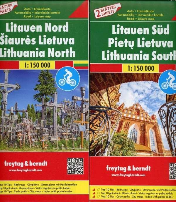 Litauen kaartenset Litouwen 1:150.000 9783707917741  Freytag & Berndt   Fietskaarten, Landkaarten en wegenkaarten Litouwen