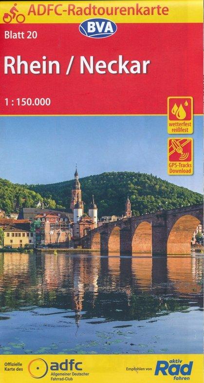 ADFC-20 Rhein/Neckar | fietskaart 1:150.000 9783870739263  ADFC / BVA Radtourenkarten 1:150.000  Fietskaarten Heidelberg, Kraichgau, Stuttgart, Neckar