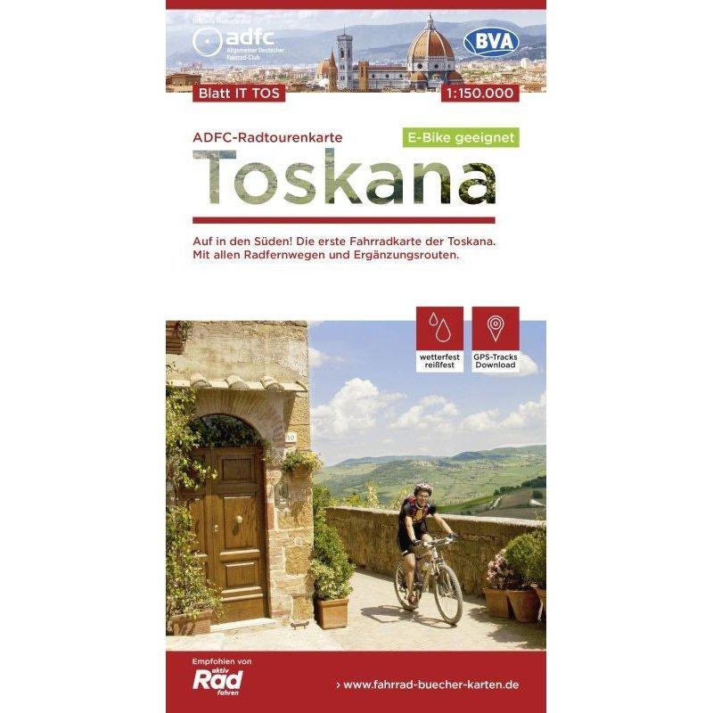 Toscane fietskaart 1:150.000 9783870739393  ADFC / BVA Radtourenkarten 1:150.000  Fietskaarten Toscane, Florence