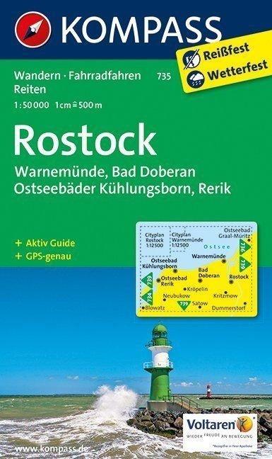 KP-735  Rostock, Warnemünde, Bad Doberau | Kompass wandelkaart * 9783990442395  Kompass Wandelkaarten Kompass Duitsland  Wandelkaarten Rügen, Hiddensee, Usedom, Oostzeekust