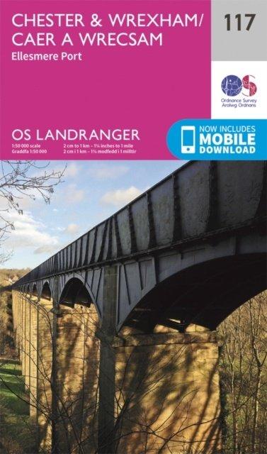 LR-117  Chester, Wrexham, Ellesmere Port | topografische wandelkaart 9780319262153  Ordnance Survey Landranger Maps 1:50.000  Wandelkaarten Midlands, Cotswolds, Oxford
