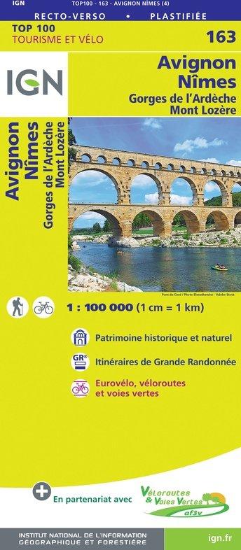SV-163  Avignon, Nîmes | omgevingskaart / fietskaart 1:100.000 9782758547723  IGN Série Verte 1:100.000  Fietskaarten, Landkaarten en wegenkaarten Ardèche